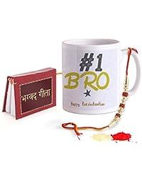 TIED RIBBONS Rakhi for Brother with Gift Combo (Designer Rakhi, Printed Coffee Mug, Mini Gita, Rakshabandhan Special Card, Roli Chawal)