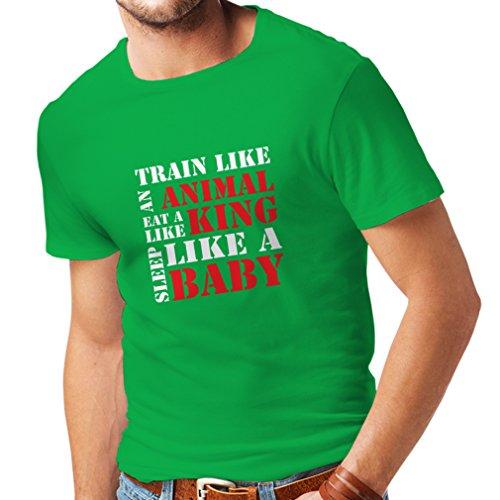 lepni.me Camisetas hombre Tren duro - citas de motivación de la aptitud, plan de entrenamiento diario (Small Verde Blanco)