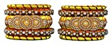 #10: Rajani Designer Silk Thread Yellow and Brown Plastic Bangle for Women - Set of 10 (Size: 2.8, RDST- Yellow & Copper--2.8)