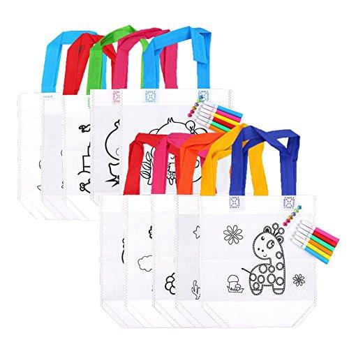 DIY Sac de Peinture des Enfants + 6 Crayons, Textiles Bricolage Cadeau Sac à Colorier Processus Sac de Rangement Exercez Votre Créativité