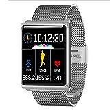Lovely Braccialetto Intelligente Aggiornamento Full Touch Screen Frequenza cardiaca Step Motion Informazioni Chiamata Promemoria Supporto per Braccialetto Android, iOS (Color : Silver)