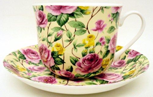 fromeuropewithlove Pink & Yellow Roses Frühstückstasse & Untertasse Fine Bone China groß Rosen Tasse & Untertasse Hand in Großbritannien. Daffodil Bone China