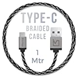 iVoltaa Pixie Type-C to USB Premium Nylon Braided (1 Meter/ 3.3 Feet) Cable - With Quick Charging (2.4 Amp) and High Speed Data Sync (Sith Grey)