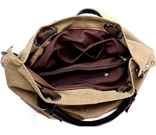 Panegy Damen Frauen Casual Tasche Mode Canvas Schultertasche Fashion Einfach Large Kapazität Handtasche Für Büro Freizeit Outdoor und Reisen - Braun Blau