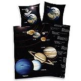Herding 445180077 Fun Collection Sonnensystem Linon Bettwäsche, Kopfkissenbezug: 70 x 90 cm, Deckenbezug: 140 x 200 cm