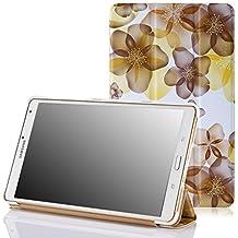 MoKo Samsung Galaxy Tab S 8.4 Funda - Ultra Slim Ligera Smart-shell Funda para Samsung Galaxy Tab S 8.4 Pulgadas Android Tableta, Floral AMARILLO (Con Cierre Magnético Para Reposo Automático)