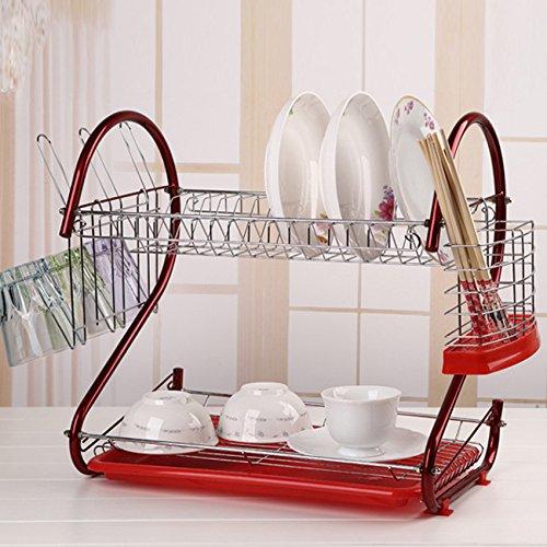 Ultrey Geschirrtrockner Abtropfgestell 2 Etagen aus Edelstahl Geschirrständer abtropfregal geschirr Abtropfständer 44x25x38cm für Besteck wie Teller Tassen usw.