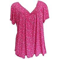 Yvelands Liquidación Más tamaño Manga Corta Camisa con Cuello en V Blusa con Cuello Redondo Camiseta