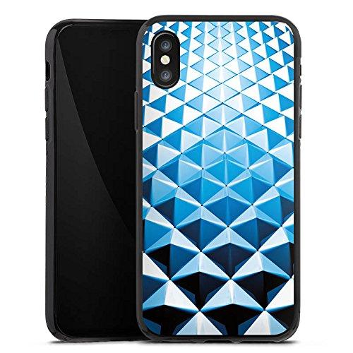Apple iPhone X Silikon Hülle Case Schutzhülle Nieten Muster Silber Blau Silikon Case schwarz