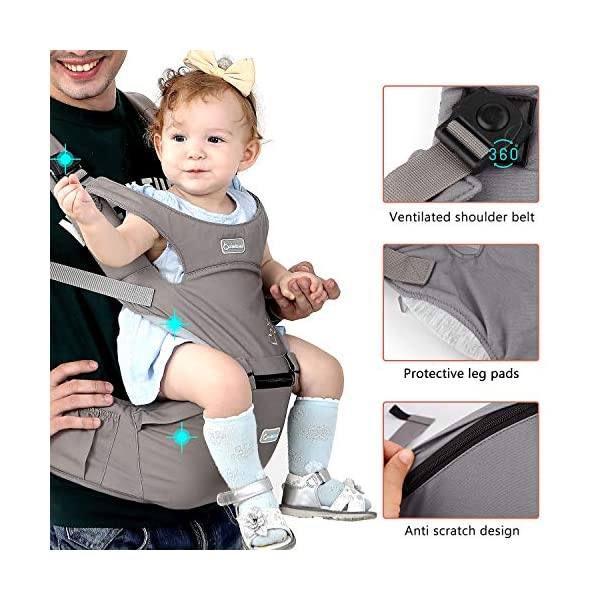 "BeeViuc Baby Carrier Hip Seat Classical Desgined Baby Carrier Backpack for 0-36months -Gray BeeViuc Ultimate Comfort For Baby - The Baby Carrier is Used Soft Classical Cotton With Polyester Touching. Suit For Baby Who is Between 3-36 Months and 0-20 KG. Ultimate Comfort For Parents - An adjustable Velcro Waist Strap That Puts Some Of The Weight On Your Hips. Ultra Extand And Soft Padded Shoulder Straps For The Best Comfortable For All Parents. Baby Hip Healthy - Enable Your Baby To Be Seated in An Optimal Natural ""M Shape"" Position From Newborn To Toddler. The Carrier Has Been Acknowledged As a ""Hip-Healthy"" Product By The International Hip Dysplasia Institute. 4"