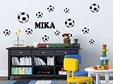 Fußbälle 12 Stück + Name - Wandtattoo Aufkleber Kinderzimmer Tür Fussball B303-V (Schwarz)