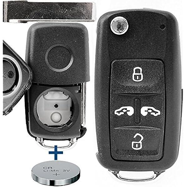 Auto Schlüssel Funk Fernbedienung 1x Gehäuse 4 Tasten 1x Rohling 1x Cr2032 Batterie Für Vw Seat