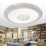 SZYSD 60W LED Deckenleuchte Kristall Wohnzimmer Flurleuchte Rund Lampe (Kaltweiss ohne Fernbedienung)