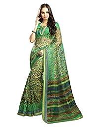 IndiWeaves Women Super Net Printed Green Saree - B00VPXC6V2