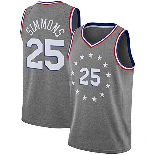 Ben Simmons # 25 Herren Basketball Trikot - NBA Philadelphia 76ers, New Fabric Embroidered Swingman Jersey Ärmelloses Shirt City Version-M