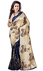 Glory Sarees Women's Art Silk Saree (kalapi25_beige and blue)