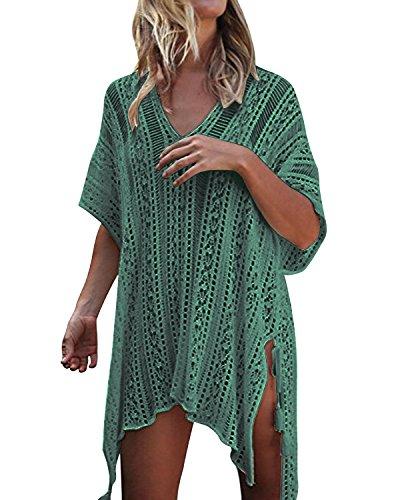 kenoce Damen Strandkleid Bikini Cover-Ups Sommer Gestrickte Asymmetrisch Strandurlaub Strandponcho Badeanzug Oversize Grün Einheitsgröße