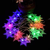 2M 20Leds String Fairy Lights Fiocco di neve Lampade Home Outdoor Wedding Party Decor, multicolore, 2M...