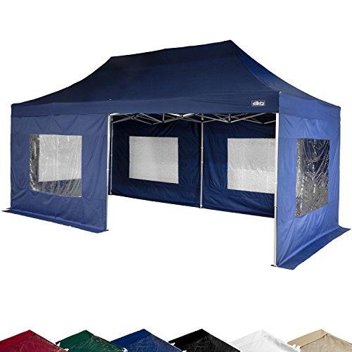 STILISTA® Falt-Pavillon 3x6m inkl. Seitenteile, WASSERDICHT, versiegelte Nähte, EV1 Voll-Aluminium, Tragetasche