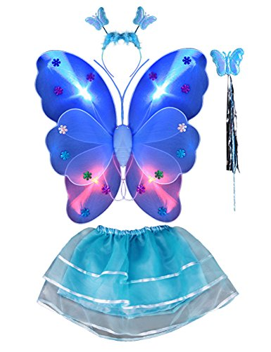 THEE 4pcs LED Leuchtend Schmetterling Kostüm Halloween Cosplay Prinzessin Elfe Flügel mit Zauberstab für Party Karneval Fasching Fastnacht Halloween Kinder Kostüm (Halloween Elfen Kostüme)