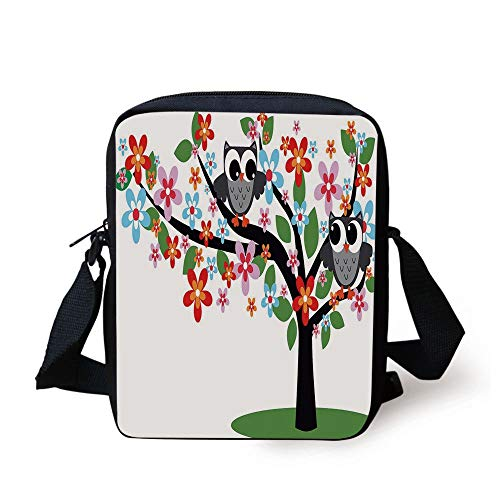 LULABE Nursery,Two Flirty Owls on a Tree with Colorful Flowers Adorable Birdies Summer Nature Decorative,Multicolor Print Kids Crossbody Messenger Bag Purse (Owl Bags Messenger)