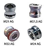 Gewindeadapter Bundle: M21 AG, M21,5 AG, M22 AG, M24 AG auf M22 AG, hochqualitatives, vergünstiges Adapter Set, Teilrücksendung und Erstattung (47 Euro Erstattungssumme) von 3 Adaptern möglich