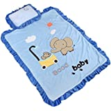Baby Grow Double Layer Fleece Quilt Blanket With Pillow (BLUE)