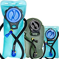 Aquatic Way Hydration Bladder Water Reservoir 2 Liter 2L 70 oz 3 Liter 3L 100 oz For Bicycling Hiking Camping Backpack. Non Toxic Easy Clean Large Opening, Quick Release Insulated Tube & Shutoff Valve (Green 3L 100oz)
