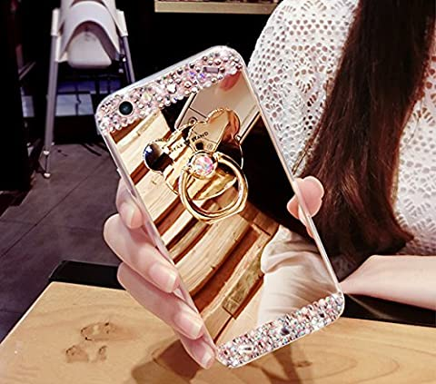 Galaxy S4 Hülle, Galaxy S4 Spiegel Hülle Mirror Case, Ukayfe [Glitzer Strass Bär Handy Ständer Ring Holder] Glitzer Silikon Hülle Samsung Galaxy S4 Gold Plating Silikon Schutzhülle Luxus Glänzend Glitzer Kristall Strass Rahmen Weich TPU Handy Tasche Ultra Dünn Silikon Weich Crystal Handyhülle mit Make Up Spiegel Mirror Kratzfeste Handy Tasche Schale Etui Bumper für Samsung Galaxy S4 - Bär