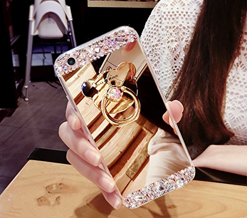 Preisvergleich Produktbild Galaxy J7 Prime Hülle, Galaxy J7 Prime Spiegel Hülle Mirror Case, Ukayfe [Glitzer Strass Bär Handy Ständer Ring Holder] Glitzer Silikon Hülle Samsung Galaxy J7 Prime Gold Plating Silikon Schutzhülle Luxus Glänzend Glitzer Kristall Strass Rahmen Weich TPU Handy Tasche Ultra Dünn Silikon Weich Crystal Handyhülle mit Make Up Spiegel Mirror Kratzfeste Handy Tasche Schale Etui Bumper für Samsung Galaxy J7 Prime - Bär Gold