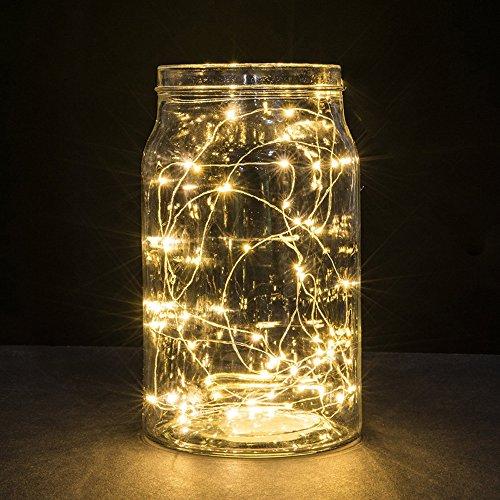 Lichterkette Außen, HUIHUI Wasserdicht 2M 20 LEDs Kupferdraht Lichterkette batteriebetrieben für Party, Garten, Weihnachten, Halloween, Hochzeit, Indoor & Outdoor Decor (Warmes Weiß,One size)