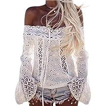 Top De Encaje Mujer Blanco,Camisetas Blusa Suelta Mangas Larga Encaje Chaleco Blusa Talla Grande