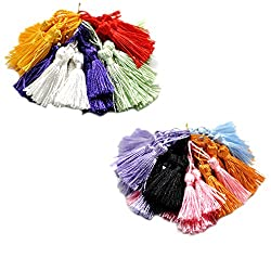 Souarts Mixed Color Silky Handmade Tiny Soft Tassels Pack of 100pcs