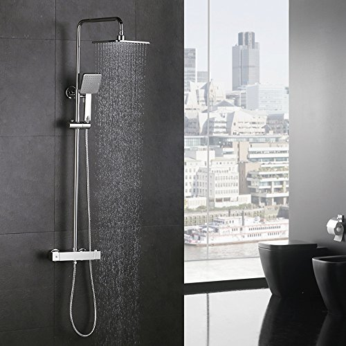 Homelody Duscharmatur mit Thermostat Regendusche Duschsystem Brausethermostat Duschset mit Duschstange Duschkopf Rainshower Duschpaneel für Dusche