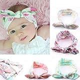 Culater 4PC bambino neonato orecchie delle ragazze dei capretti di coniglio Hairband Turbante Bowknot Headwrap Hairband
