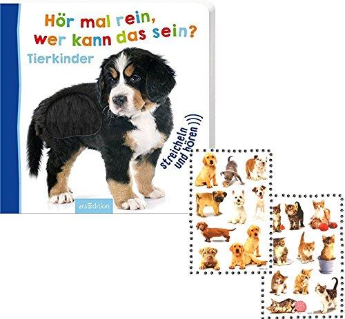 Ars-Edition Hör mal rein, wer kann das sein? Tierkinder Foto-Streichel-Soundbuch,1 Beschäftigungsbuch für kleine Entdecker ab 18 Monate + 1 Bogen Tiersticker gratis