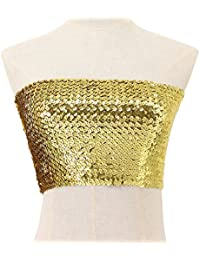 8ab123015 90S Women  s Sequin Shiny Strapless Bandeau Stretchy Boob Tube Bra Top  Metallic Mini Top