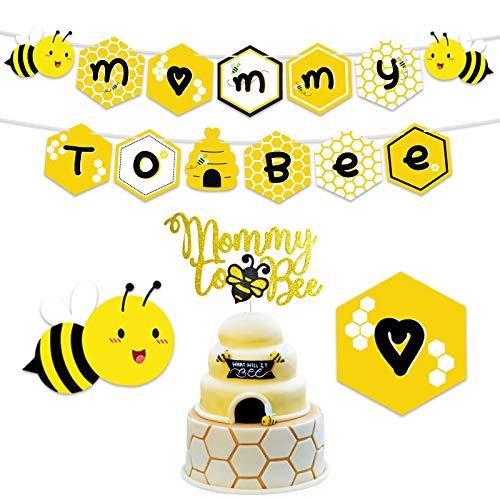 Kreatwow Mama zu Biene Banner & Mama zu Cake Topper für Bumble Bee Baby Shower Geschlecht Reveal Party Dekorationen zu Sein