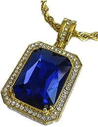 Completamente Iced Rick Ross Lab Sapphire chapados en oro Hiphop Bling Colgante y cuerda cadena