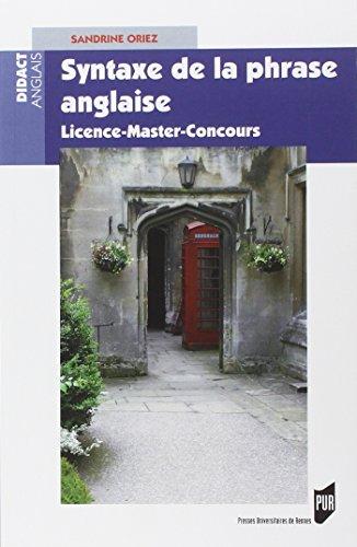Syntaxe de la phrase anglaise : Licence-Master-Concours