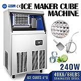 BuoQua 40kg Kommerzielle Eismaschine 220V Eiswürfelbereiter Kommerzielle Eiswürfelbereiter Edelstahl