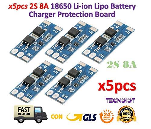 TECNOIOT 5 un. 2S 8A Li-Ion Batería Lipo 7.4v 8.4V 18650 protección junta BMS PCM 15A Pico 15 Amp 3-bank