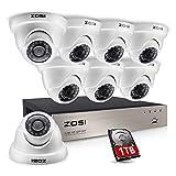 ZOSI CCTV 8CH 720P TVI DVR Videoüberwachung Set mit 8 Outdoor Wasserdicht Weiß Dome Überwachungskamera System, 20M IR Nachtsicht, 1TB Festplatte