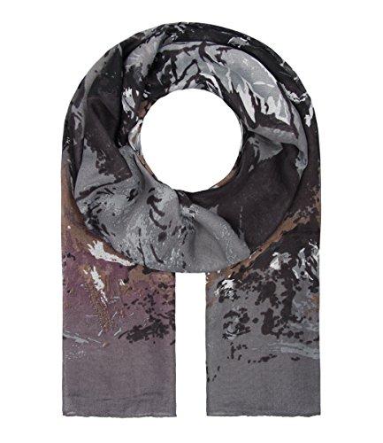 Majea Damen Schal XXL Tuch Neue Herbstkollektion Schals und Tücher mit Muster (grau 10)