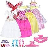 Cute 15 Items = 5 Pcs Fashion Handmade Dresses 5 Shoes 5 hangers For Barbie Doll