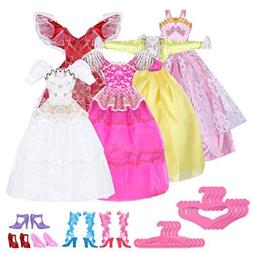 Preisvergleich Produktbild RHX Handgefertigte Kleider, Schuhe und Kleiderbügel für Barbiepuppen, insgesamt 15 Teile (5 Kleider, 5 Schuhe, 5 Kleiderbügel)