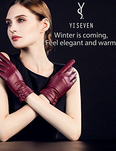 Wollfutter YISEVEN Damen Lederhandschuhe Gef/üttert Touchscreen