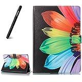 Neues iPad 2017 iPad 9.7 Zoll Hülle,Slynmax Schutzhülle Abdeckung Smart Case Tasche Sun Flower Slim Brieftasche Ledertasche Flip Case mit Stand für Apple iPad 9.7 2017 A1822/ A1823 Tablet - Schwarz