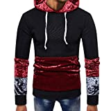 Feitong Herren Pullover, Männer Splicing Taschen Pullover Lange Ärmel Hooded Sweatshirt Tops Bluse(EU-46/Size-M, Schwarz)