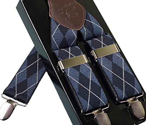 Panegy - Bretelles Homme Élastique Y Réglable 3 Clips Style Classique Carreau Vintage Multifonction Soirée Mariage Commerce Pantalon Chemise Costume - Bleu Losange
